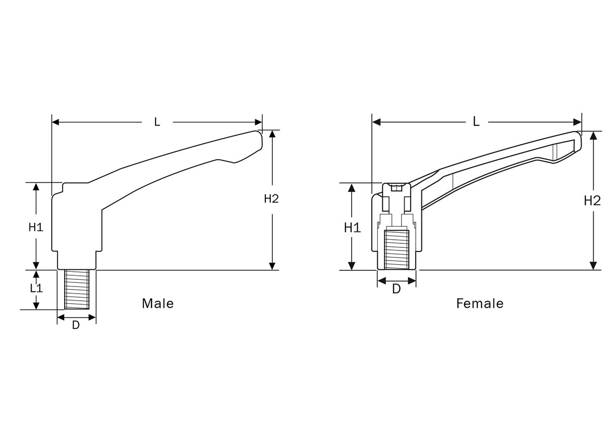 Clamping Handles dimension guide