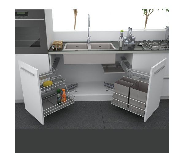 Swing Out Undersink Waste Bin Unit, Kitchen Cupboard Waste Bin
